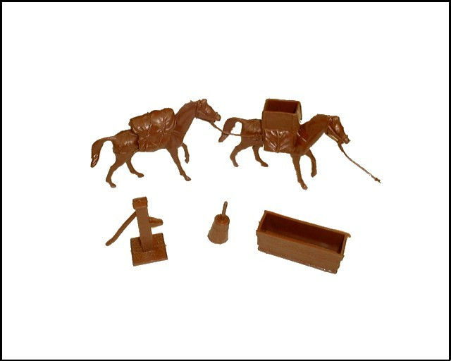Pack Horses 2 with packs and accessories (brown)  <font color=#CC0000>(54mm) </FONT>