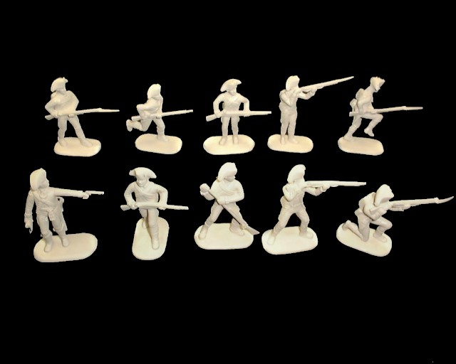 French Infantry 20 figures in 10 poses (white) (5465) <font color=#CC0000>(54mm) </FONT>
