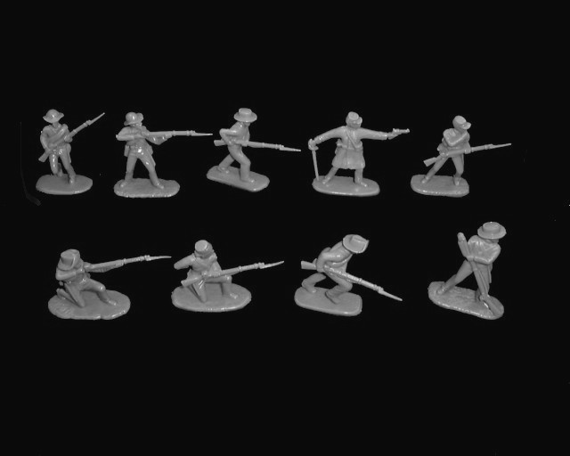 Confederate Infantry 20 figures in 10 poses (gray)  (5411) <font color=#CC0000>(54mm) </FONT>