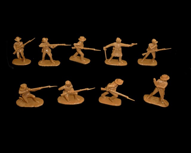 Confederate Infantry 20 figures in 10 poses (butternut ) (5412) <font color=#CC0000>(54mm) </FONT>
