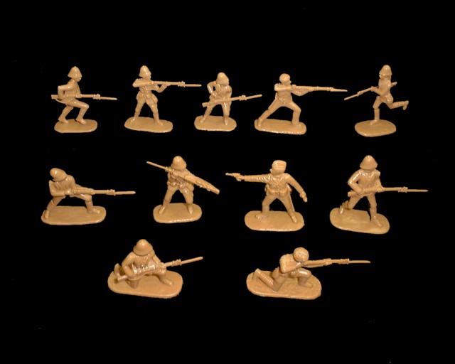 British Infantry Omdurman Sudan (1898) 20 figures in 10 poses (tan)  (5421) <font color=#CC0000>(54mm) </FONT>