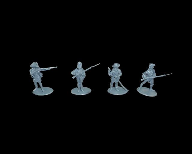 Colonials Maryland Militia 16 figures in 4 poses  (blue)  (series 10) <font color=#CC0000>(54mm) </FONT>