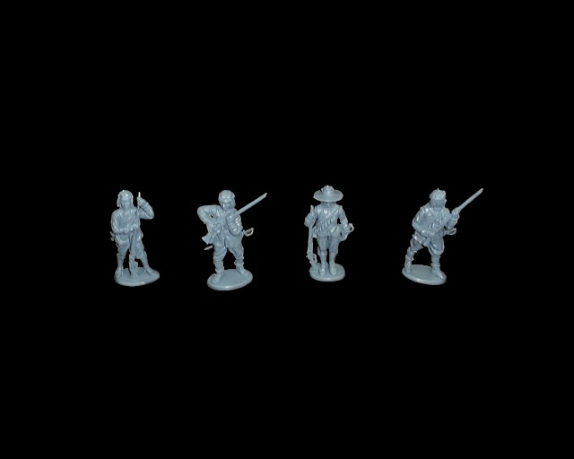 Royalist Musketeers 16 figures in 4 poses  (blue) (series 3) <font color=#CC0000>(54mm) </FONT>