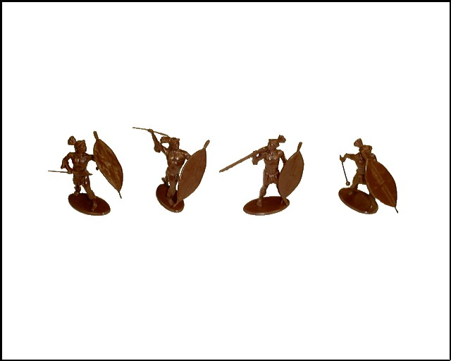 Zulu Warriors at Isandlwana 16 figures in 4 poses (brown) (series 4)  <font color=#CC0000>(54mm) </FONT>