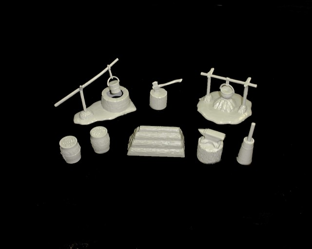 Western Fort accessories set #1 10 pieces dip well, powder kegs, etc (gray) <font color=#CC0000>(54mm) </FONT>