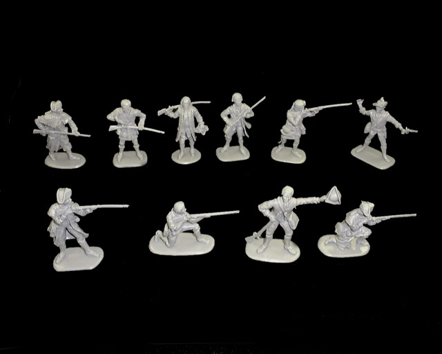 Colonials Series #1, 20 figures in 10 poses (Gray) <FONT COLOR=#CC0000>(54mm) </FONT>