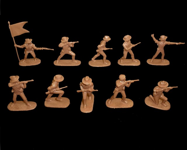 American Rough Riders 20 figures in 10 poses (brown) (5414B) <FONT COLOR=#CC0000>(54mm) </FONT>