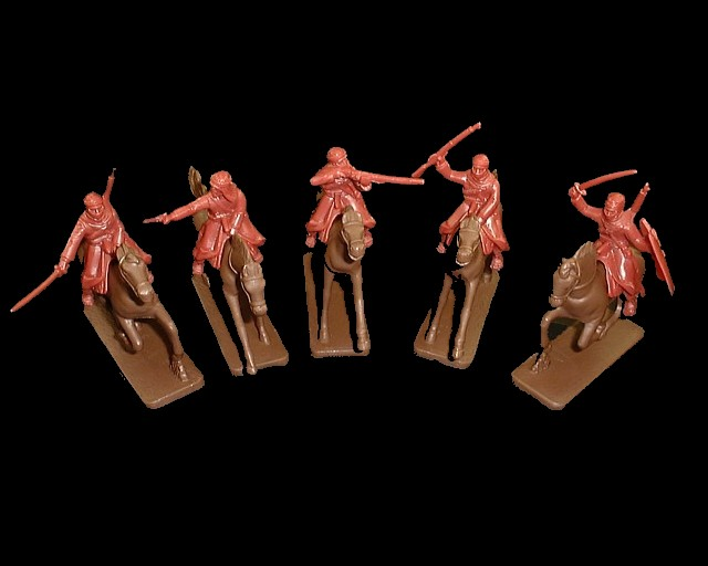 Mounted Arabs 5 figures in 5 poses w/5 horses (red brown) (5487)  <FONT COLOR=#CC0000>(54mm) </FONT>
