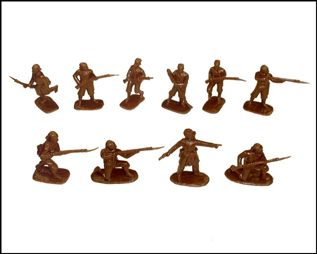 Louisiana Tigers Zouaves 20 figures in 10 poses (brown)  (5439)  <font color=#CC0000>(54mm) </FONT>