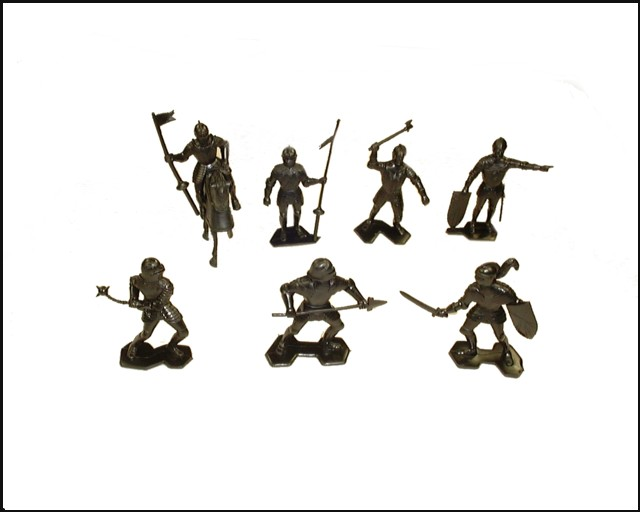 Knights (2nd series) 21 figures in 7 poses w/2 horses (black)  <FONT COLOR=#CC0000>(54mm) </FONT>