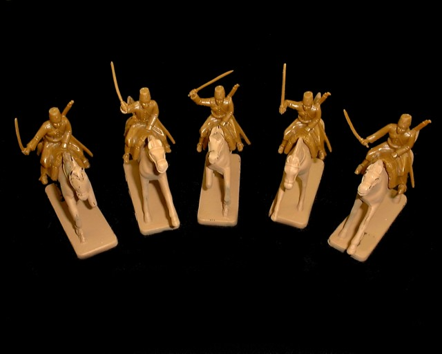 Russian Cossacks  5 figures  in 5 poses w/horses (5532) (brown) <FONT COLOR=#CC0000>(54mm) </FONT>