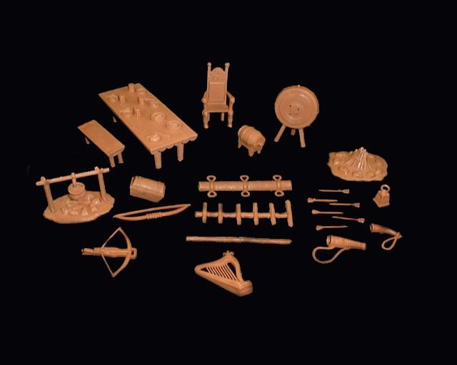 Medieval Castle Accessory Set -- 35 pieces<FONT COLOR=#CC0000>(54mm) </FONT>