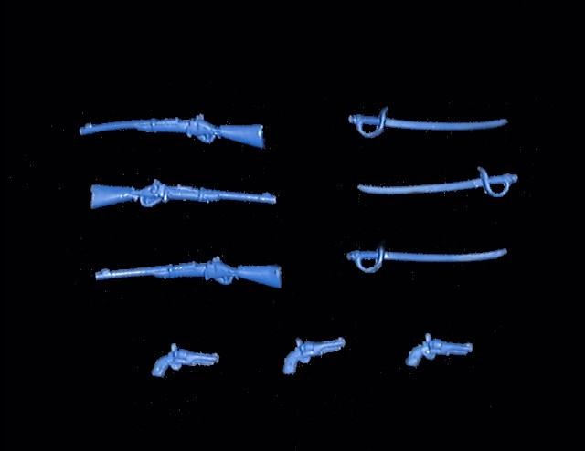 Civil War and Cavalry Weapons 9 in 3 poses (blue) <FONT COLOR=#CC0000>(54mm) </FONT>