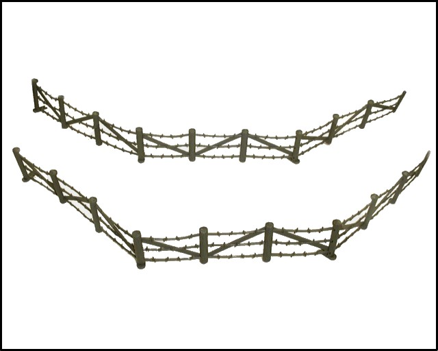 Barbed Wire Fence -- 4 sections (5'' long) (gray)  <font color=#CC0000>(54mm) </FONT>