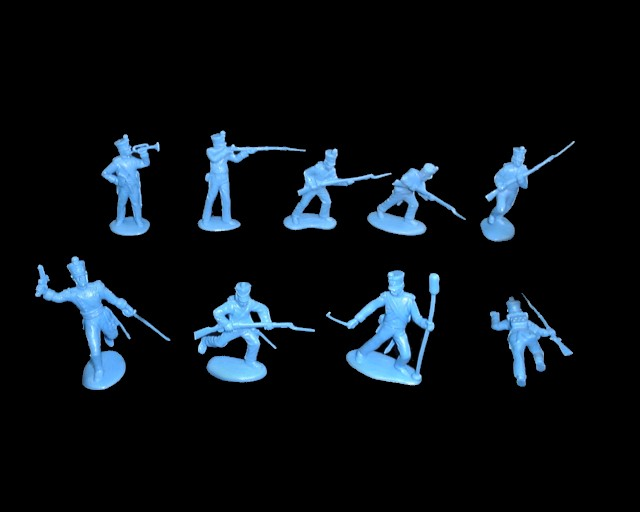 Mexican / Napoleonic Infantry  2nd series 12 figures in 9 poses (light blue)<font color=#CC0000>(54mm) </FONT>