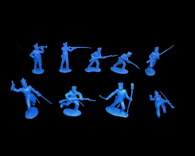 Mexican / Napoleonic Infantry  2nd series 12 figures in 9 poses (blue) <FONT COLOR=#CC0000>(54mm) </FONT>