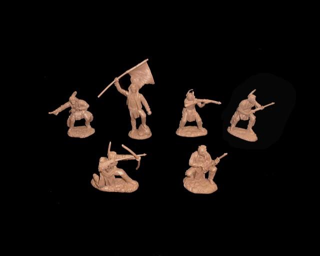 Plains Indians  (series II) 12 figures  in 6 poses (tan) <FONT COLOR=#CC0000>(54mm) </FONT>