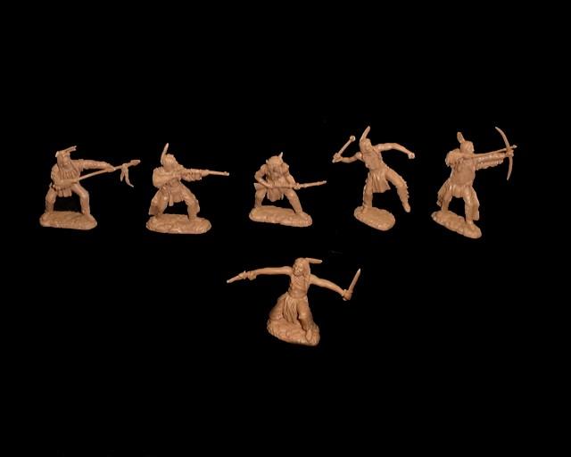 Plains Indians  (series I) 12 figures  in 6 poses (tan)  <FONT COLOR=#CC0000>(54mm) </FONT>