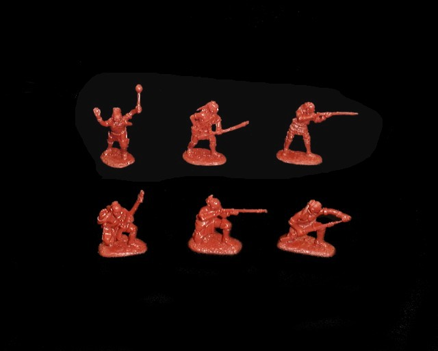 Woodland Indians 18 figures in 6 poses series #1 (red brown) (5547A) <FONT COLOR=#CC0000>(54mm) </FONT>