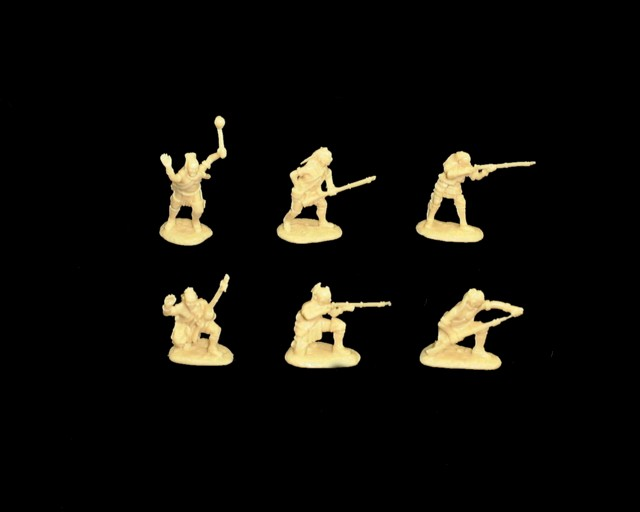 Woodland Indians 18 figures in 6 poses series #1 (cream) (5547B) <FONT COLOR=#CC0000>(54mm) </FONT>