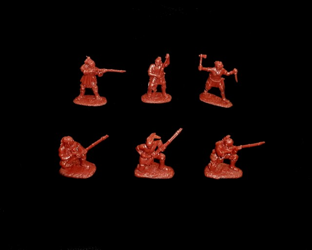Woodland Indians 18 figures in 6 poses series #2 (red brown) (5548A) <FONT COLOR=#CC0000>(54mm) </FONT>