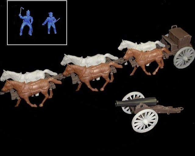 Limber  and 12 pound cannon w/6 horses (blue driver & rider) <FONT COLOR=#CC0000>(54mm) </FONT>