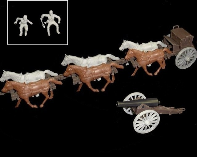 Limber  and 12 pound cannon w/6 horses (gray driver & rider) <FONT COLOR=#CC0000>(54mm) </FONT>