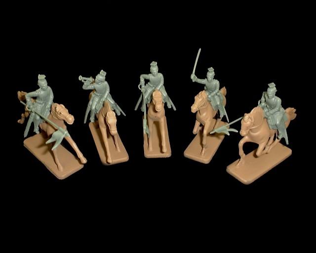 WWI German Uhlan Lancers 5 figures in 3  poses w/5 horses  (5535) (gray) <FONT COLOR=#CC0000>(54mm) </FONT>