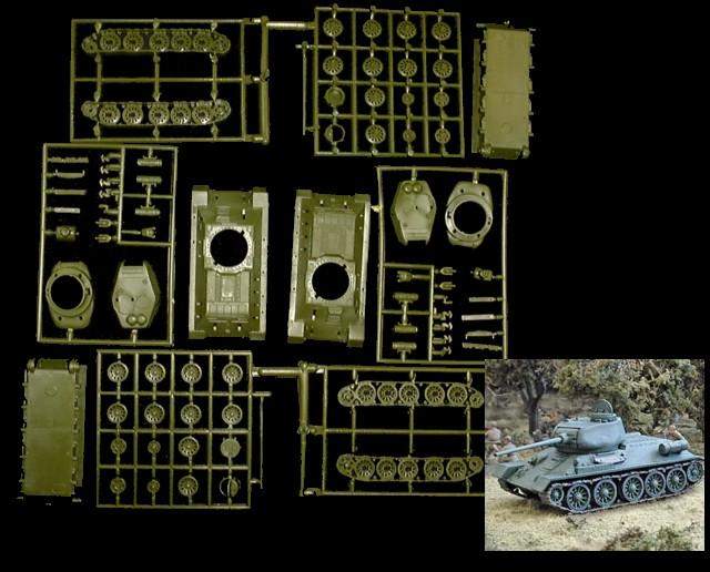 WWII Soviet T34/85 Tank (x2) (7662) <FONT COLOR=#CC0000>(25mm) </FONT>