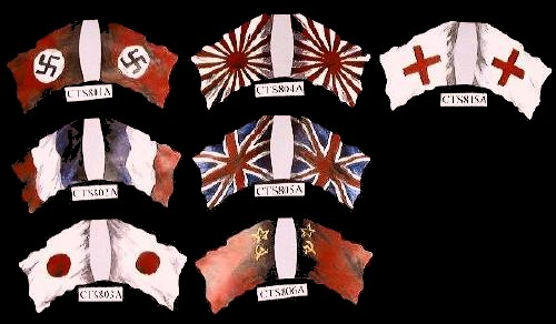 Japanese WWII Rising Sun flag (center top)  <font color=#CC0000>(54mm) </FONT>