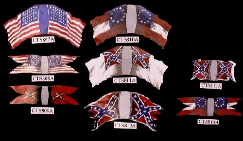 Confederate Battle Flag w/damage Stars and Bars  (center bottom)   <font color=#CC0000>(54mm) </FONT>