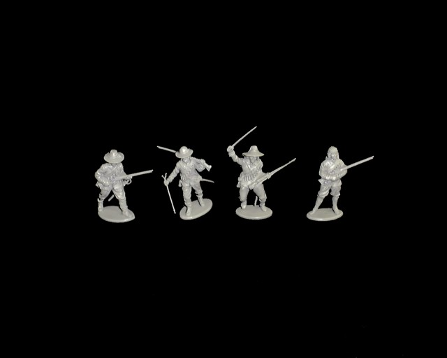 Parliament Musketeers 16 figures in 4 poses  (gray) (series 5) <font color=#CC0000>(54mm) </FONT>