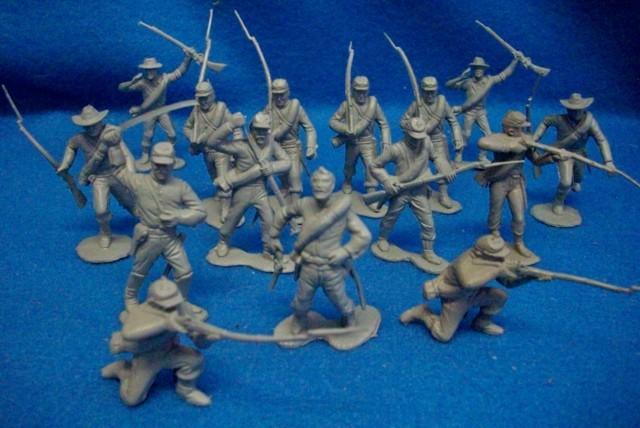 Marx Civil war Confederates,54mm, (original) 15 figures in 9 poses