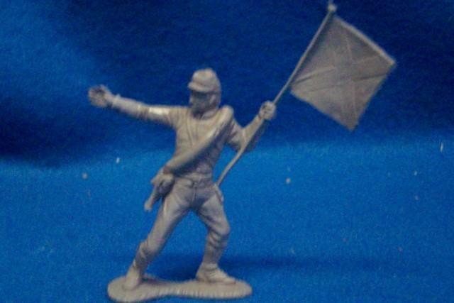 Marx original Civil war Confederate flagbearer, 54mm