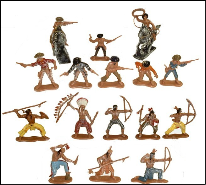 Cowboys & Indians set #1 16 figures 2/horses (painted) <FONT COLOR=#CC0000>(60mm) </FONT>