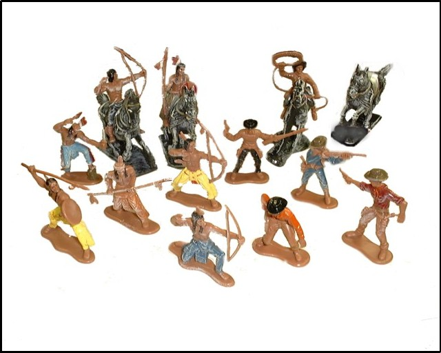 Cowboys & Indians (set #2) 12 figures 4/horses (painted)  <FONT COLOR=#CC0000>(60mm) </FONT>