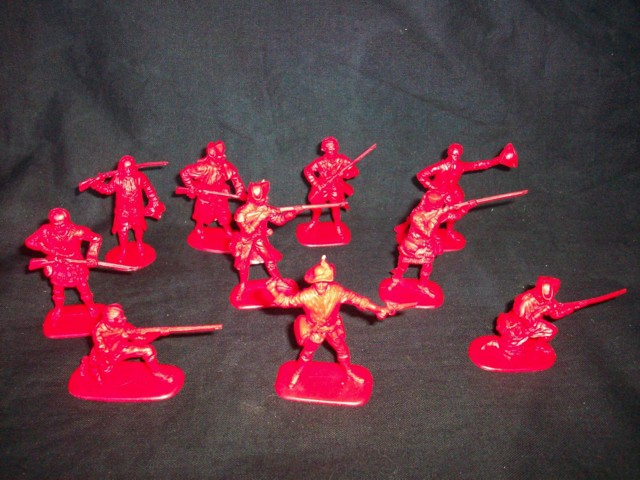 Colonials 20 figures in 10 poses (red) (series I) <FONT COLOR=#CC0000>(54mm) </FONT>