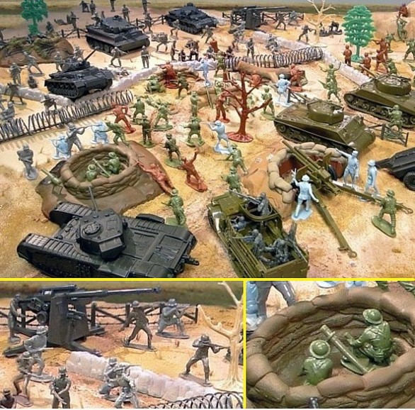 Battleground WWII Playset ---165 pieces---(s&h $35) <font color=#CC0000>(54mm) </FONT>