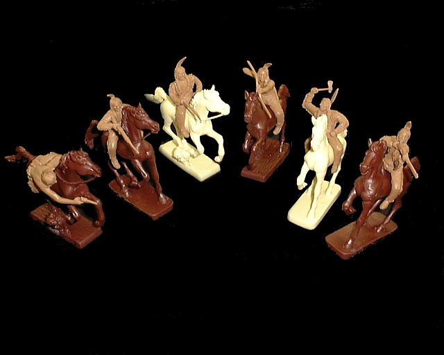 Mounted Plains Indians 6 figures in 6 poses (tan) w/horses  <FONT COLOR=#CC0000>(54mm) </FONT>