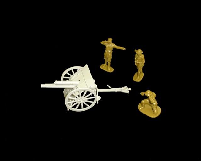 WWI British 18 pound gun w/3 man crew (3502) <font color=#CC0000>(54mm) </FONT>