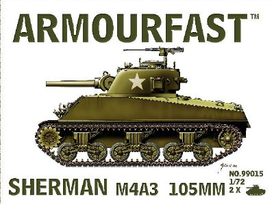 Sherman Tank M4A3 w/105mm cannon (x2) (99015) <FONT COLOR=#CC0000>(25mm) </FONT>