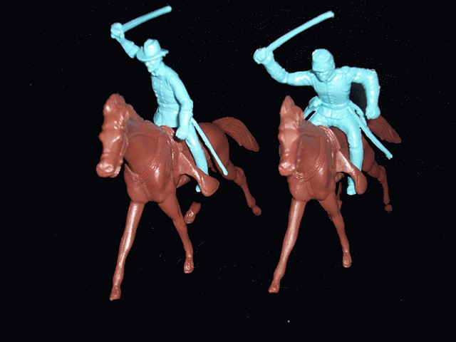 Union Cavalry 4 mounted in 2 poses (light blue)  w/4 horses  <font color=#CC0000>(54mm) </FONT>