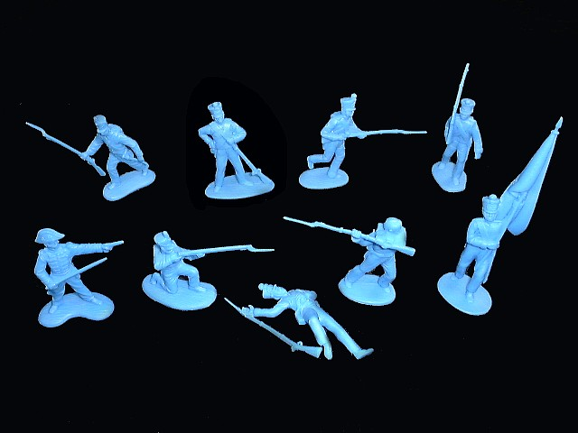 Mexican / Napoleonic Infantry  1st series 12 figures in 9 poses (light blue) <FONT COLOR=#CC0000>(54mm) </FONT>