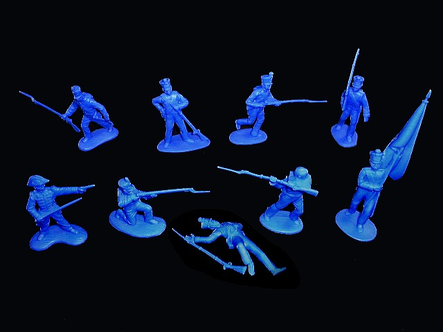 Mexican / Napoleonic Infantry  1st series 12 figures in 9 poses (blue) <FONT COLOR=#CC0000>(54mm) </FONT>