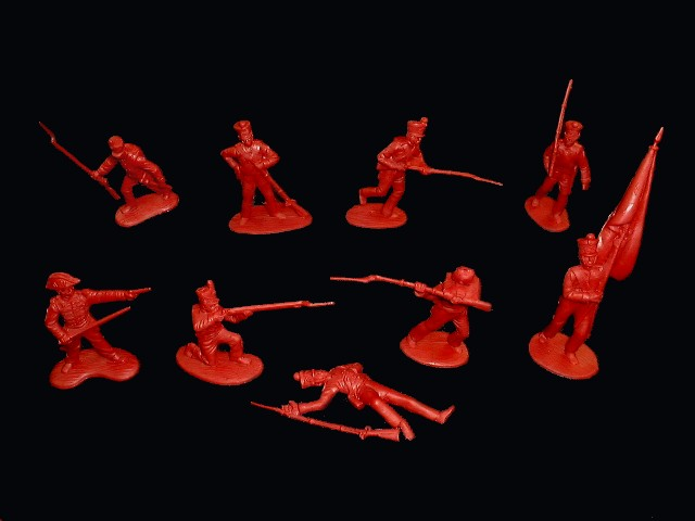 Mexican / Napoleonic Infantry  1st series 12 figures in 9 poses (red) <FONT COLOR=#CC0000>(54mm) </FONT>