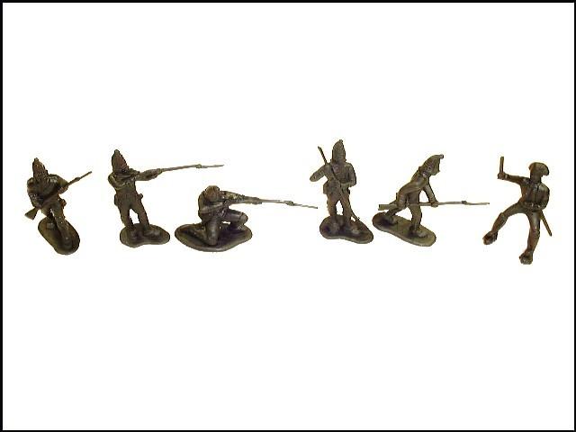 Revolutionary War Hessians 12 figures in 6 poses (black) plus 2 CTs horses <font color=#CC0000>(54mm) </FONT>