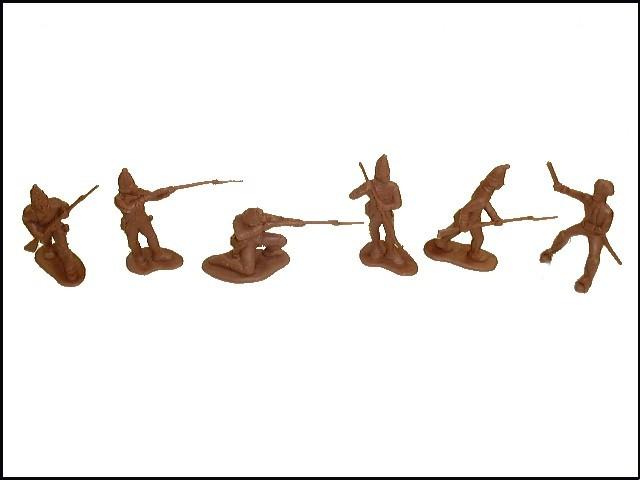 Revolutionary War Hessians 12 figures in 6 poses (brown) plus 2 horses <font color=#CC0000>(54mm) </FONT>