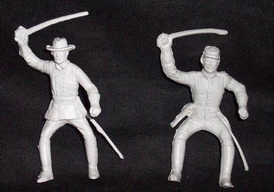 MARX Confederate Cavalry (original) 2 figures in 2 poses  (flat gray)  <font color=#CC0000>(54mm) </FONT>
