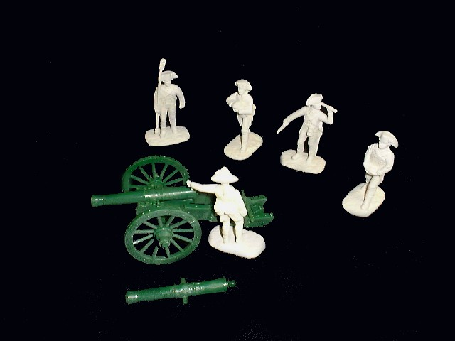 French Artillery 5 figures in 5 poses w/12 pound cannon (white) (5481) <FONT COLOR=#CC0000>(54mm) </FONT>