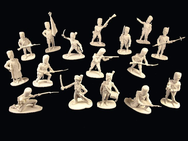 French Grenadiers 28 figures in 16 poses (white) <font color=#CC0000>(54mm) </FONT>